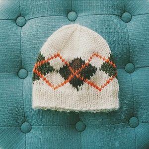Accessories - Cream Knit Argyle Beanie